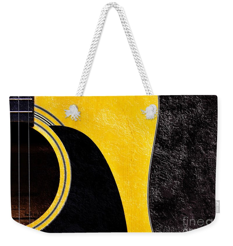 Guitar Weekender Tote Bag featuring the photograph Hour Glass Guitar 4 Colors 1 - Tetraptych - Yellow Corner - Music - Abstract by Andee Design