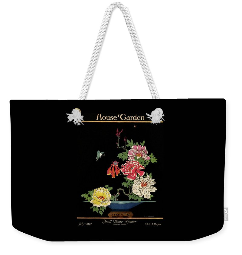House & Garden Weekender Tote Bag featuring the photograph House & Garden Cover Illustration Of Peonies by H. George Brandt