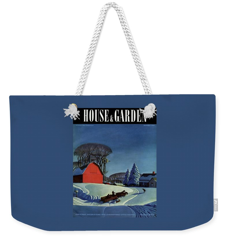 House And Garden Weekender Tote Bag featuring the photograph House And Garden Christmas Decoration Cover by Dale Nichols