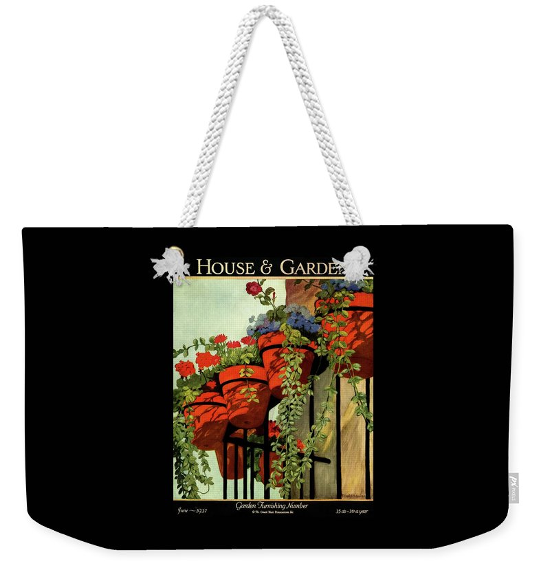 House And Garden Weekender Tote Bag featuring the photograph House And Garden Garden Furnishing Number Cover by Ethel Franklin Betts Baines