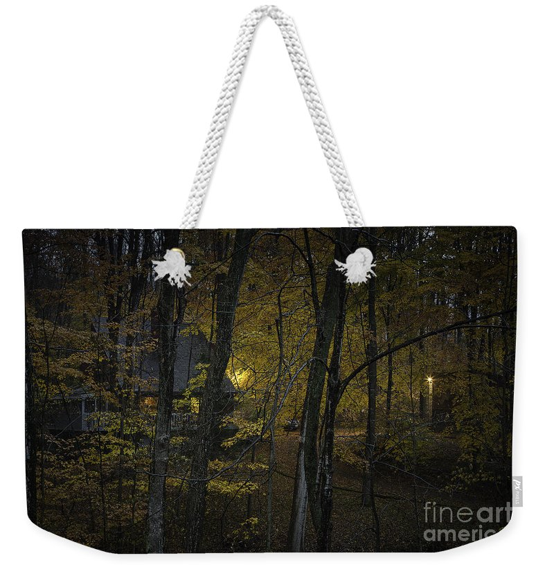 Michele Weekender Tote Bag featuring the photograph House In The Woods by Michele Steffey