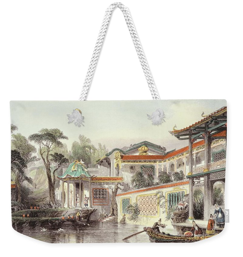 River Weekender Tote Bag featuring the drawing House Of Conseequa, A Chinese Merchant by Thomas Allom