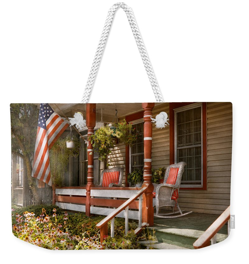 Porch Weekender Tote Bag featuring the photograph House - Porch - Traditional American by Mike Savad