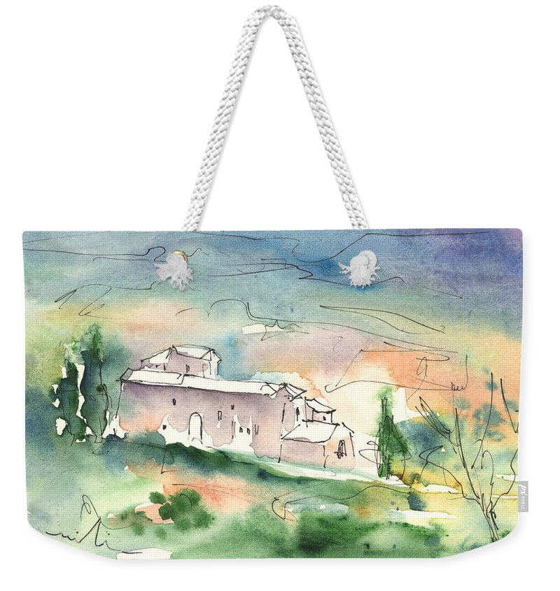 Italy Weekender Tote Bag featuring the painting Houses In Montepulciano In Tuscany 02 by Miki De Goodaboom