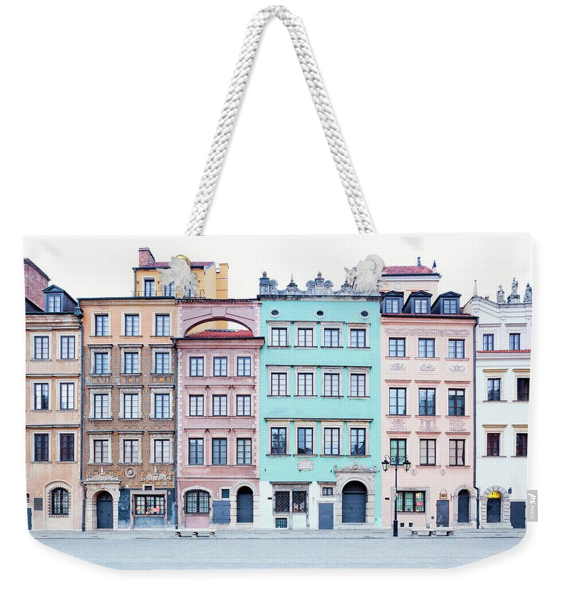 Apartment Weekender Tote Bag featuring the photograph Houses On Old Town Market Place by Jorg Greuel