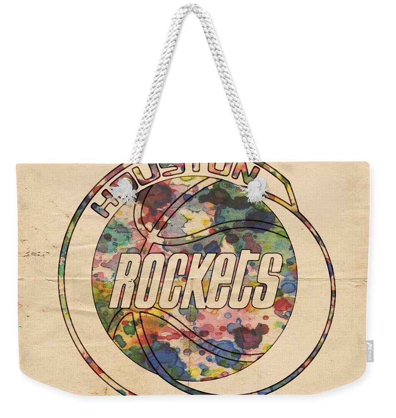 Houston Rockets Weekender Tote Bag featuring the painting Houston Rockets Vintage Poster by Florian Rodarte