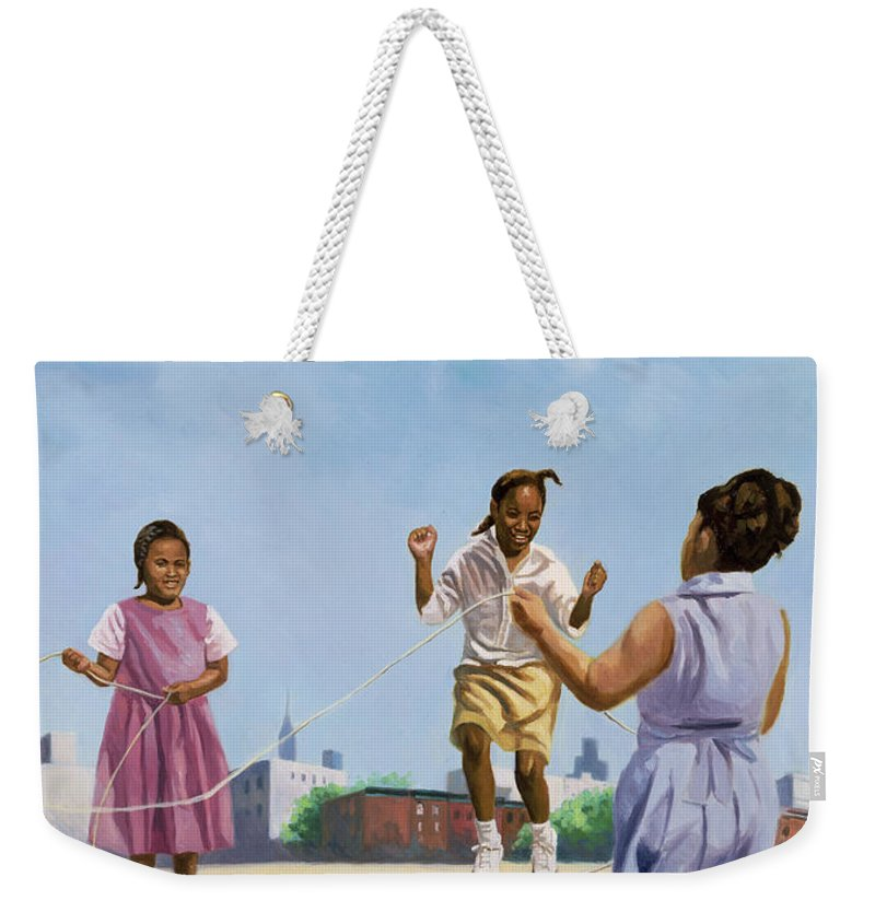 Skipping Weekender Tote Bag featuring the painting How High by Colin Bootman