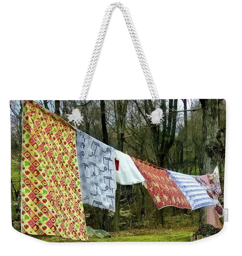 Quilts Weekender Tote Bag featuring the painting How To Dry An American Quilt by RC DeWinter
