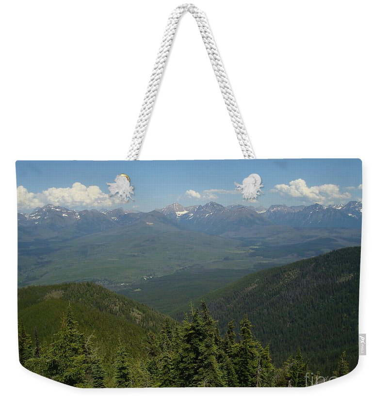 Glacier National Park Weekender Tote Bag featuring the photograph View Of The Rockies From Huckleberry Mountain Glacier National Park by Maili Page
