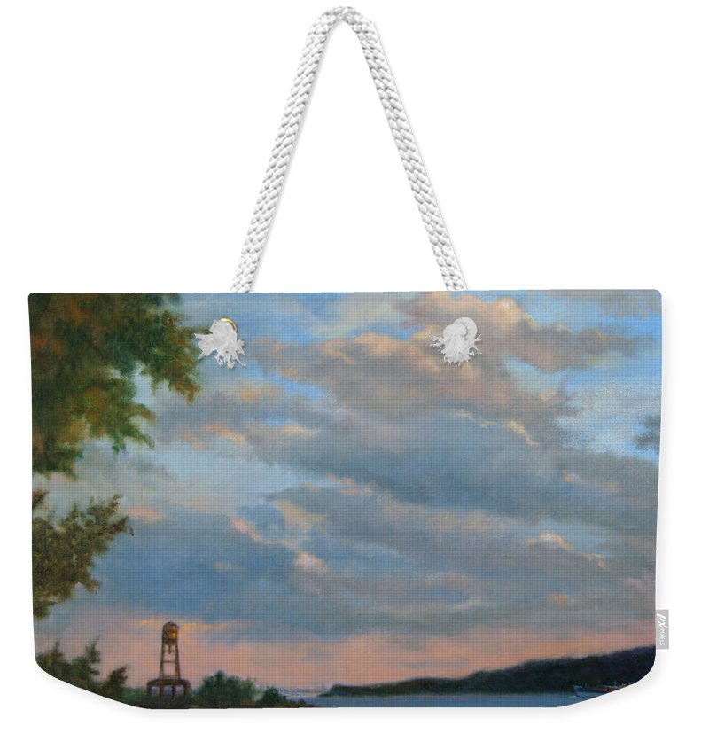 Hudson River Weekender Tote Bag featuring the painting Hudson River Skyscape by Phyllis Tarlow