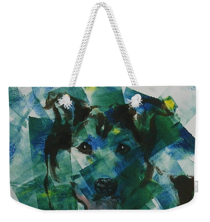 Monotype Weekender Tote Bag featuring the mixed media Hued In by Cori Solomon