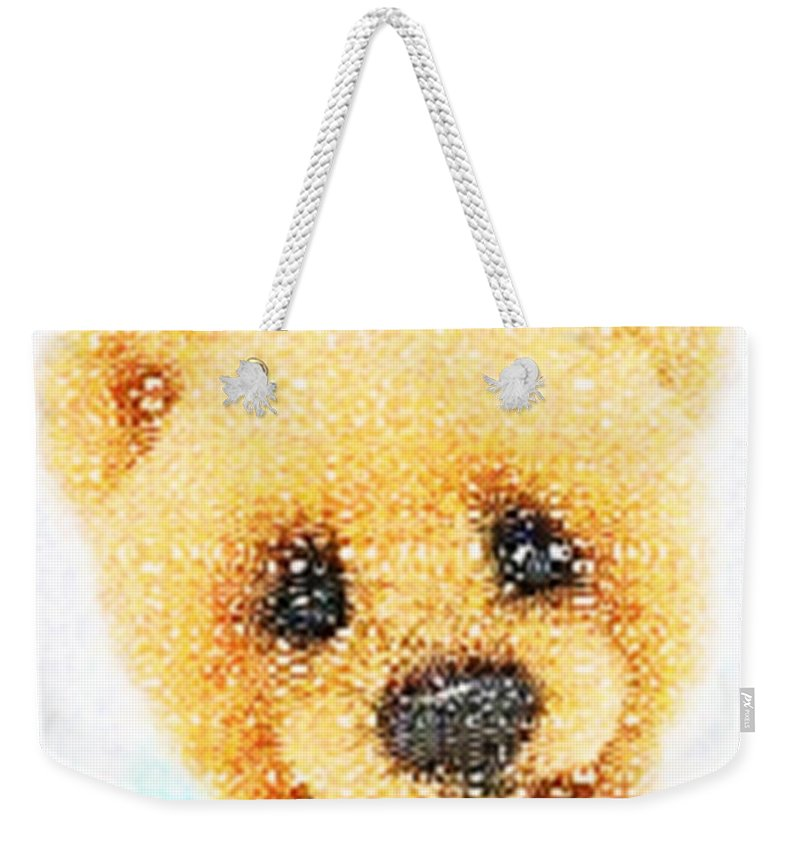 Teddy Bear Weekender Tote Bag featuring the digital art Huggable Teddy Bear by Catherine Lott