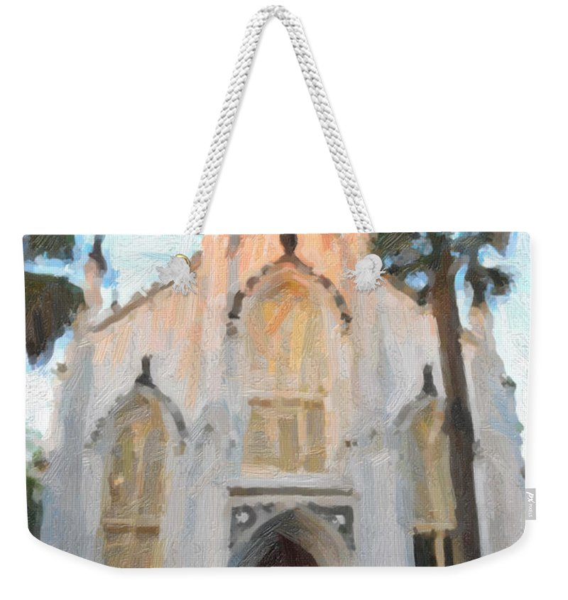 French Huguenot Weekender Tote Bag featuring the digital art Huguenot Church by Dale Powell