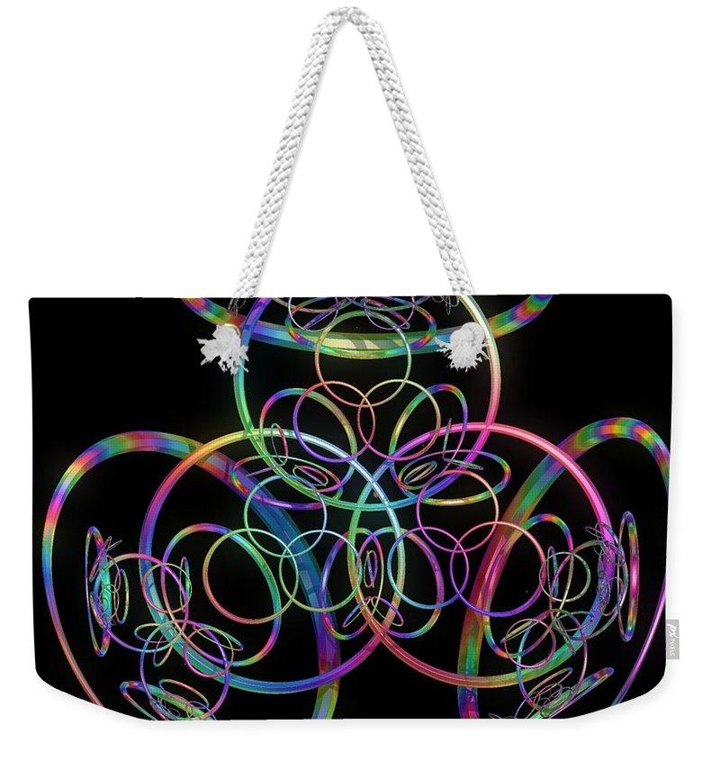 Rings Weekender Tote Bag featuring the digital art Hula Hoops by Sara Raber