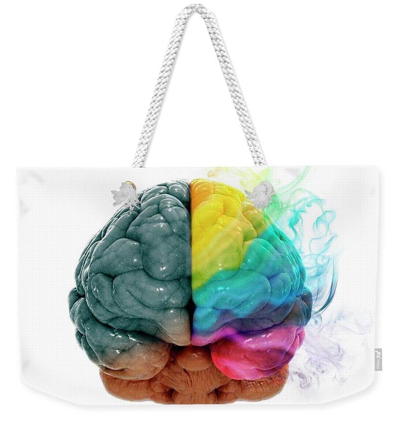 White Background Weekender Tote Bag featuring the digital art Human Brain, Artwork by Andrzej Wojcicki