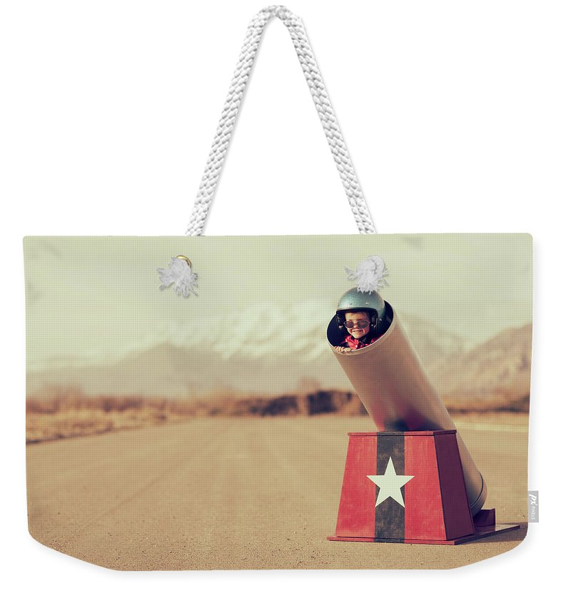 4-5 Years Weekender Tote Bag featuring the photograph Human Cannonball by Richvintage