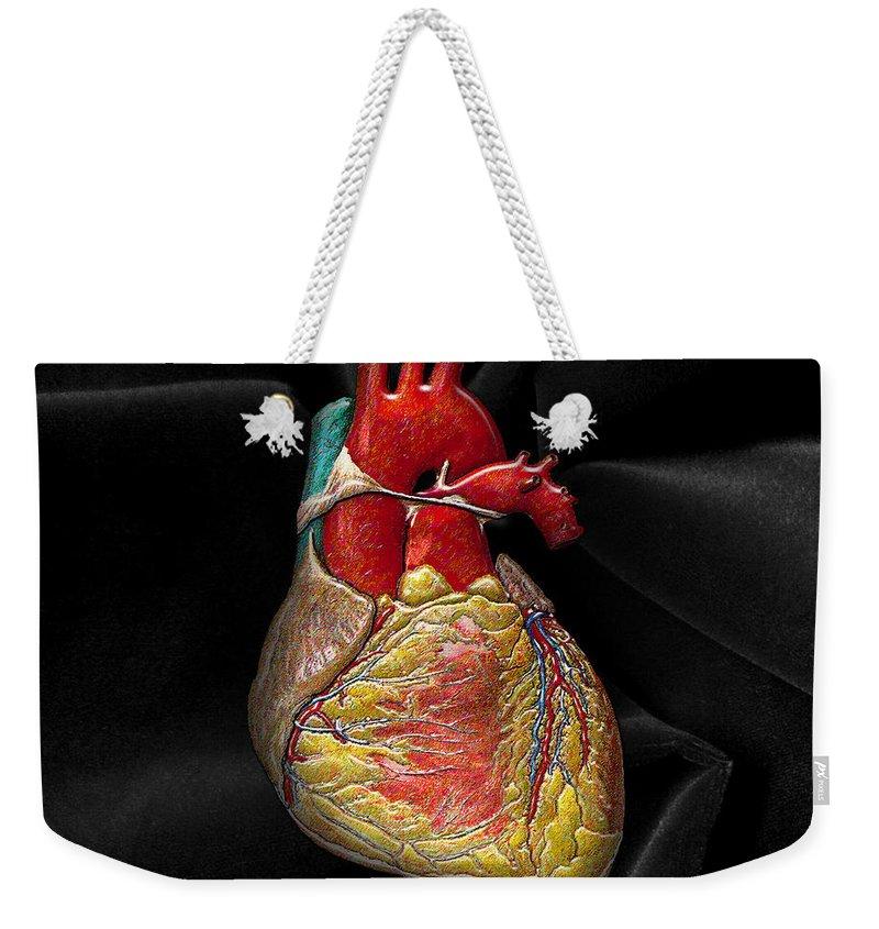 C7 Inner Workings 3d Collection Weekender Tote Bag featuring the digital art Human Heart On Black Velvet by Serge Averbukh