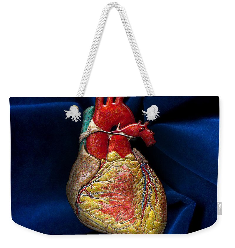 C7 Inner Workings 3d Collection Weekender Tote Bag featuring the digital art Human Heart On Blue Velvet by Serge Averbukh