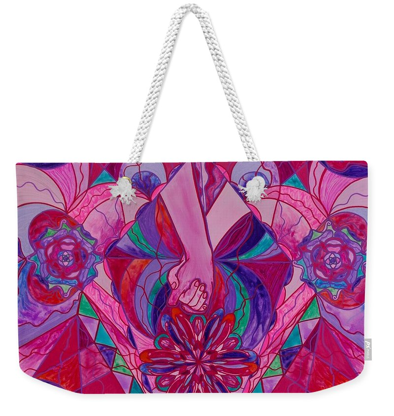 Vibration Weekender Tote Bag featuring the painting Human Intimacy by Teal Eye Print Store