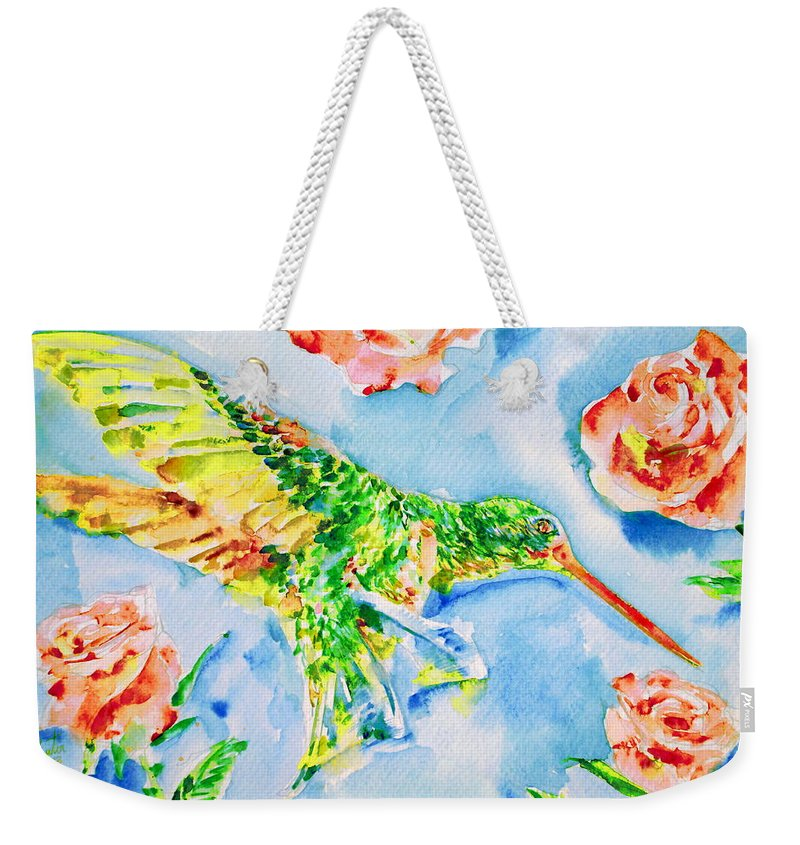 Hummingbird Weekender Tote Bag featuring the painting Hummingbird In The Roses by Fabrizio Cassetta