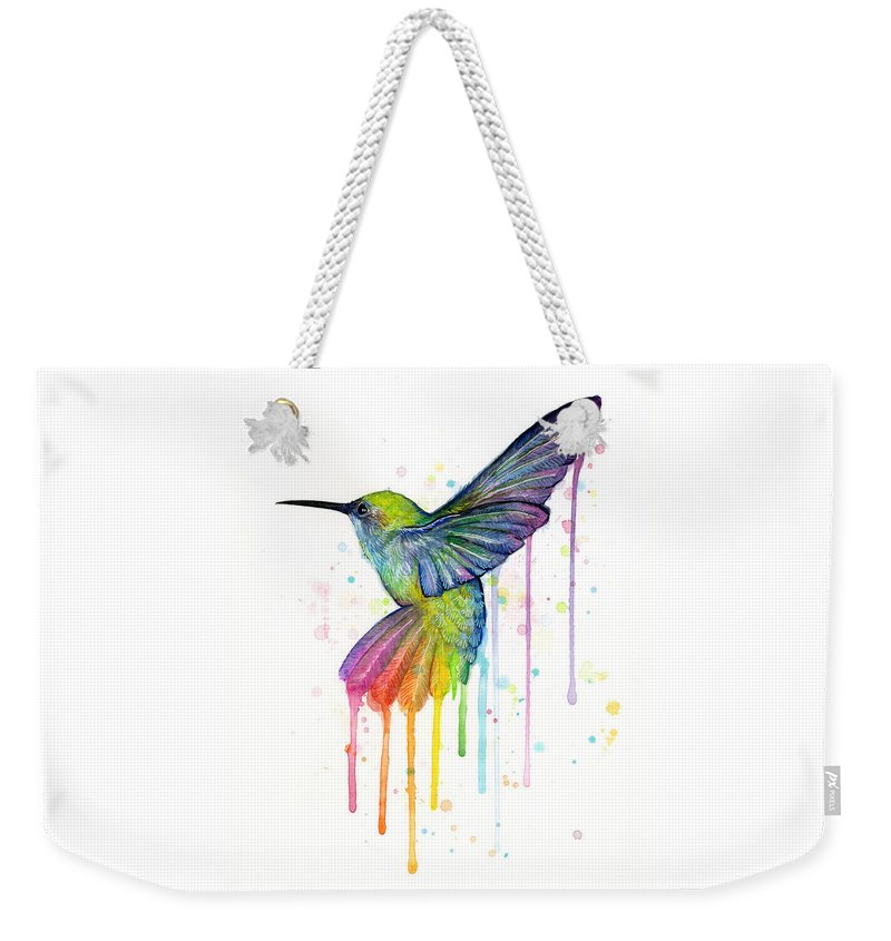 Hummingbird Weekender Tote Bag featuring the painting Hummingbird of Watercolor Rainbow by Olga Shvartsur