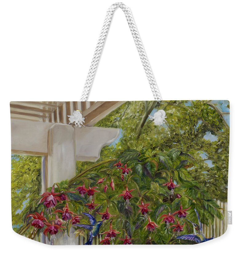Hummingbirds Weekender Tote Bag featuring the painting Hummingbirds In Spring by Maria Gibbs
