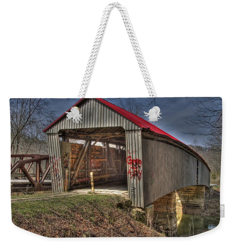 Ohio Weekender Tote Bag featuring the photograph Artistic Humpback Covered Bridge by Jack R Perry