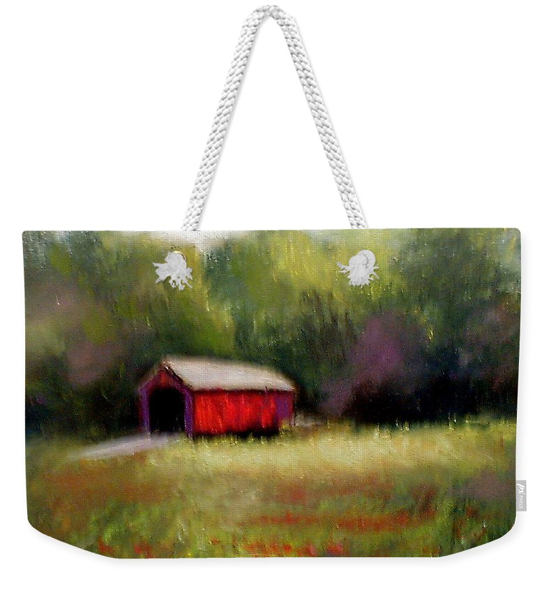 Covered Bridge Weekender Tote Bag featuring the painting Hune Bridge by Gail Kirtz
