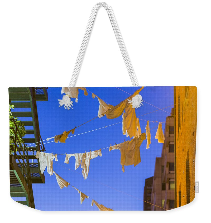 Hanging Laundry Weekender Tote Bag featuring the photograph Hung Out To Dry 2 by Scott Campbell