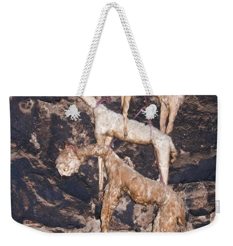Ollantaytambo Weekender Tote Bag featuring the photograph Hung To Dry by Bob Phillips