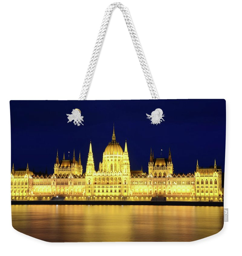 Hungarian Parliament Building Weekender Tote Bag featuring the photograph Hungarian Parliament Building, Budapest by Dragos Cosmin Photos