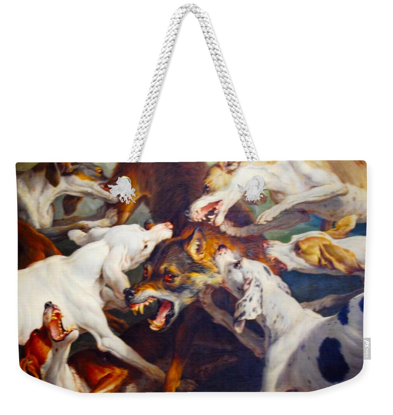 Alexandre François Desportes Weekender Tote Bag featuring the digital art Hunting Dogs Detail 2 by Alexandre Francois Desportes
