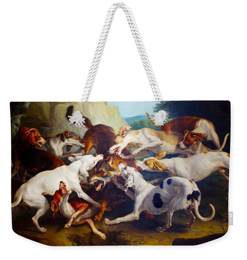 Alexandre François Desportes Weekender Tote Bag featuring the digital art Hunting Dogs Detail by Alexandre Francois Desportes