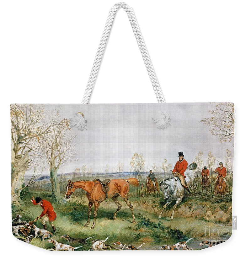 Hound; Fox; Hunt; Horse; Hunters Weekender Tote Bag featuring the painting Hunting Scene by Henry Thomas Alken