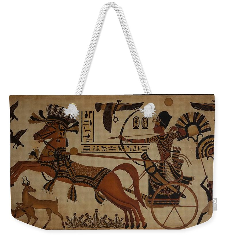 Egypt Weekender Tote Bag featuring the painting Hunting Scene by Jane Whiting Chrzanoska
