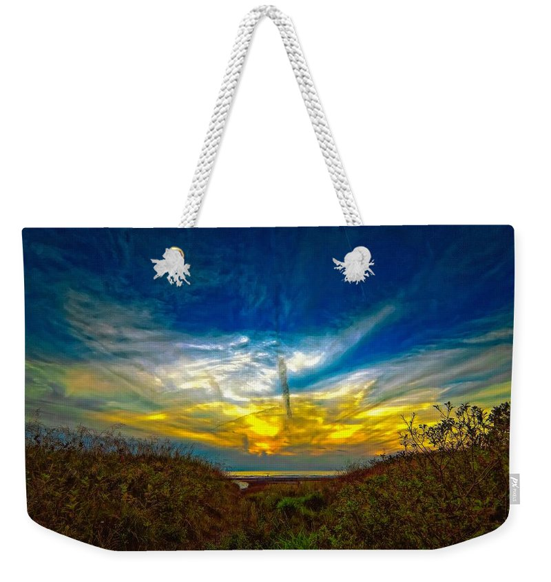Sunset Weekender Tote Bag featuring the photograph Huron Evening 2 Oil by Steve Harrington