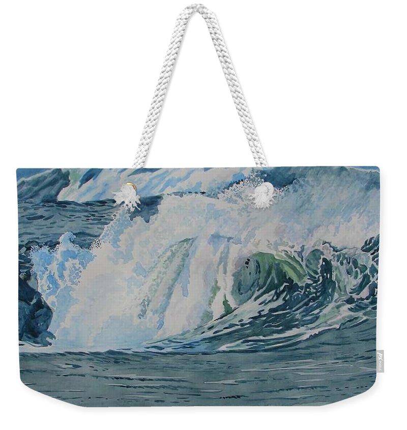 Hurricanes Weekender Tote Bag featuring the painting Hurricane Ike by Alan Mintz