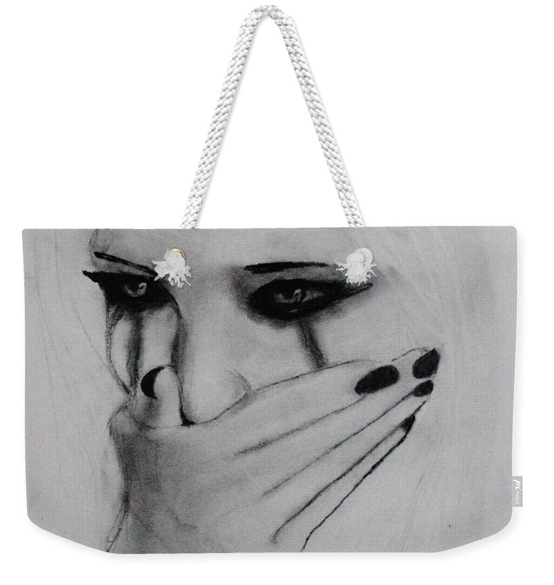 Cry Weekender Tote Bag featuring the drawing Hurt by Michael Cross