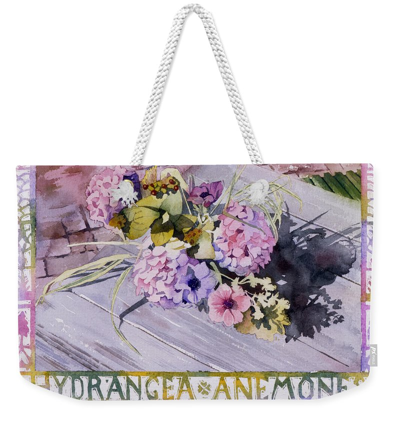 Julia Rowntree Weekender Tote Bag featuring the photograph Hydrangea Anemones by Julia Rowntree