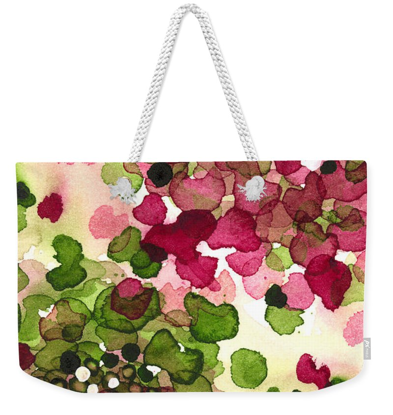 Modern Botanical Watercolor Weekender Tote Bag featuring the painting Hydrangea by Dawn Derman