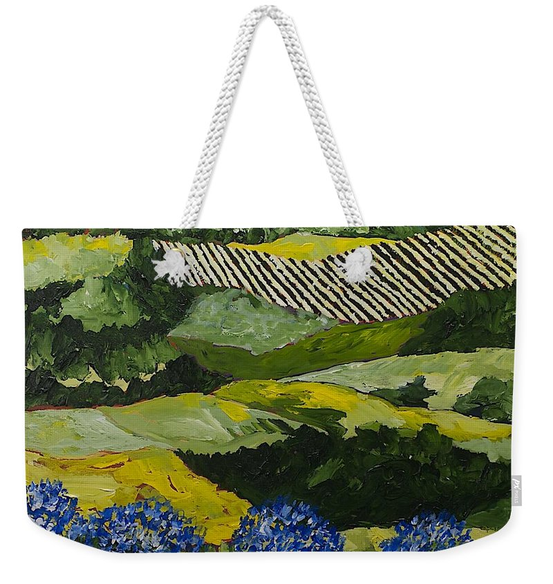 Landscape Weekender Tote Bag featuring the painting Hydrangea Valley by Allan P Friedlander
