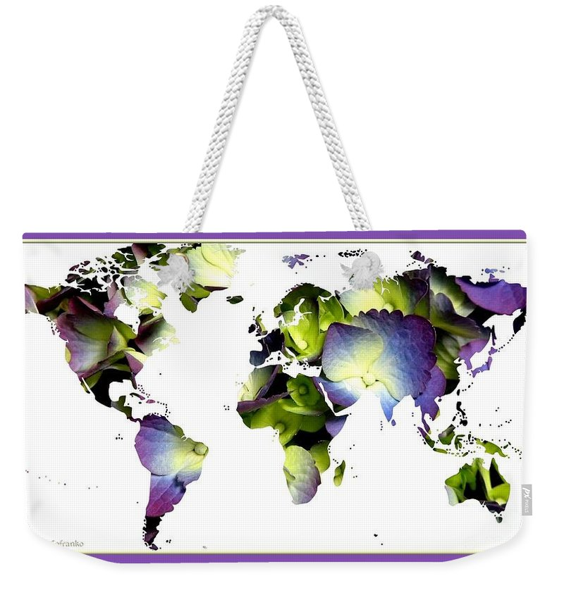 World Map Weekender Tote Bag featuring the photograph Hydrangea World Map by Rose Santuci-Sofranko