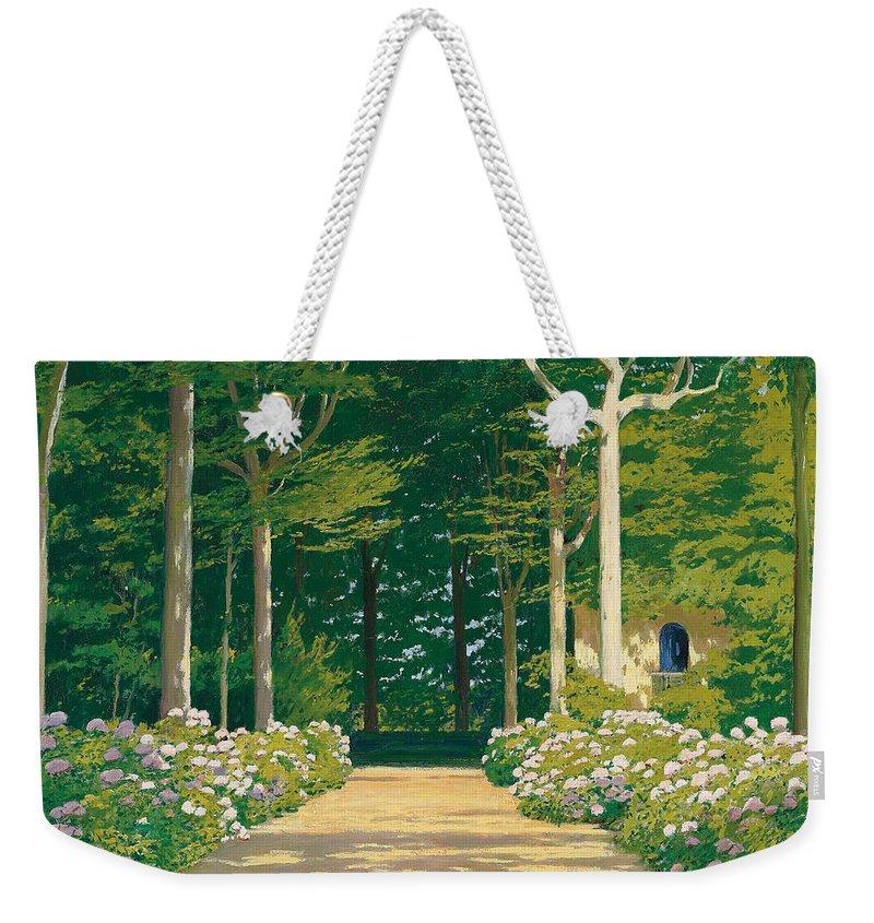 Hydrangeas On A Garden Path Weekender Tote Bag featuring the painting Hydrangeas On A Garden Path by Santiago Rusinol i Prats
