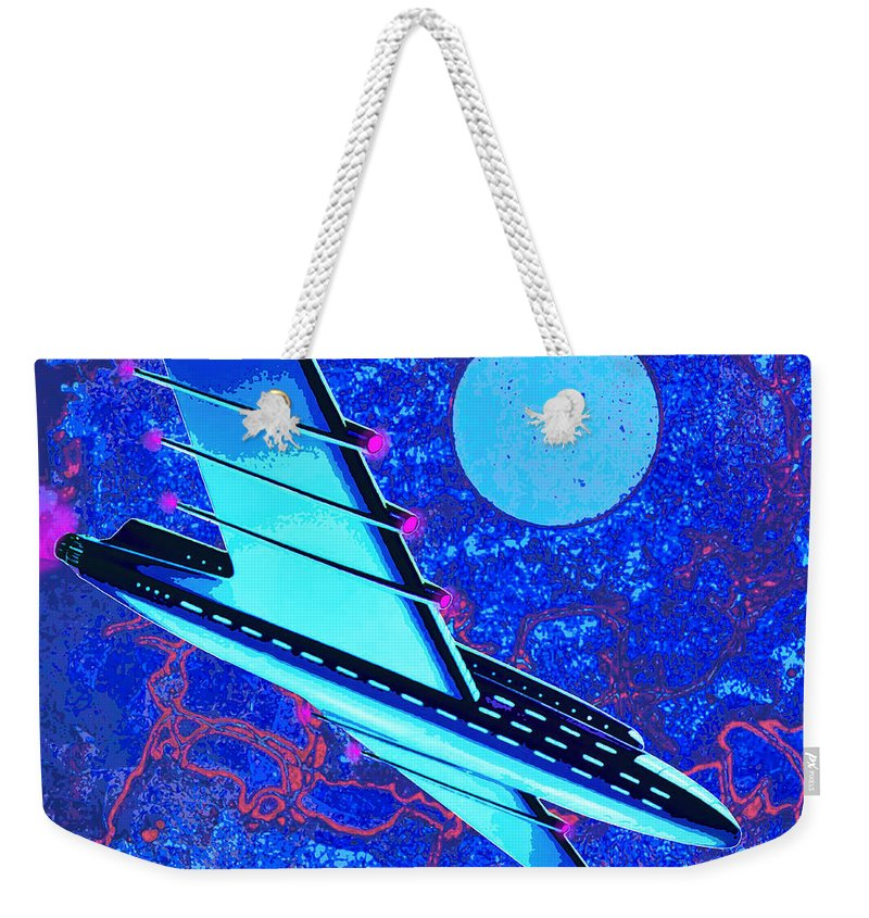 Space Ship Weekender Tote Bag featuring the mixed media Hyperspace by Dominic Piperata