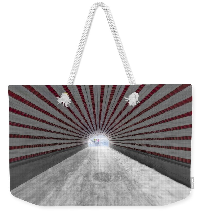 America Weekender Tote Bag featuring the photograph Hypnotic Playmates Arch by Susan Candelario