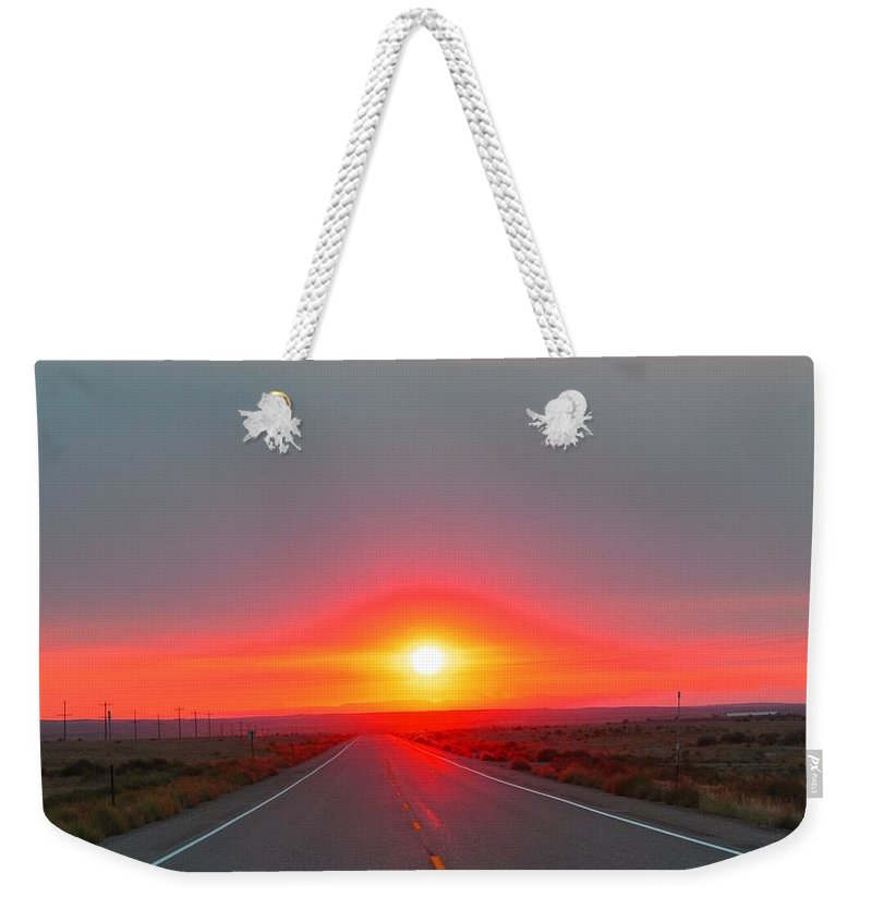 Idaho Falls Weekender Tote Bag featuring the photograph Hyway Sunrise by Image Takers Photography LLC - Laura Morgan