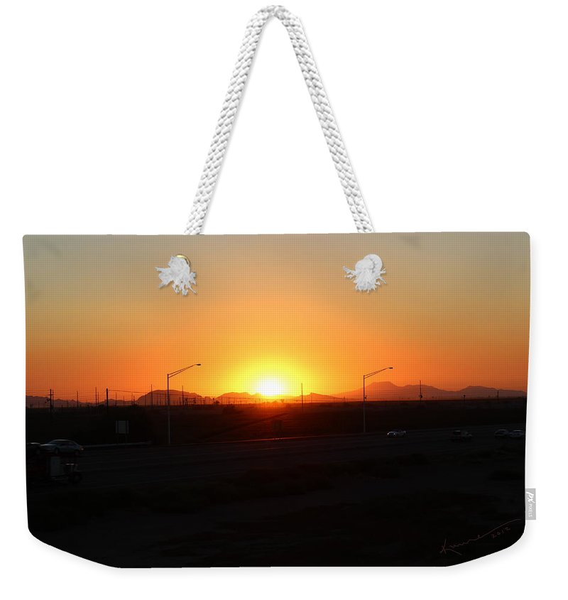 Sunset Weekender Tote Bag featuring the photograph I-10 To Phoenix by Kume Bryant