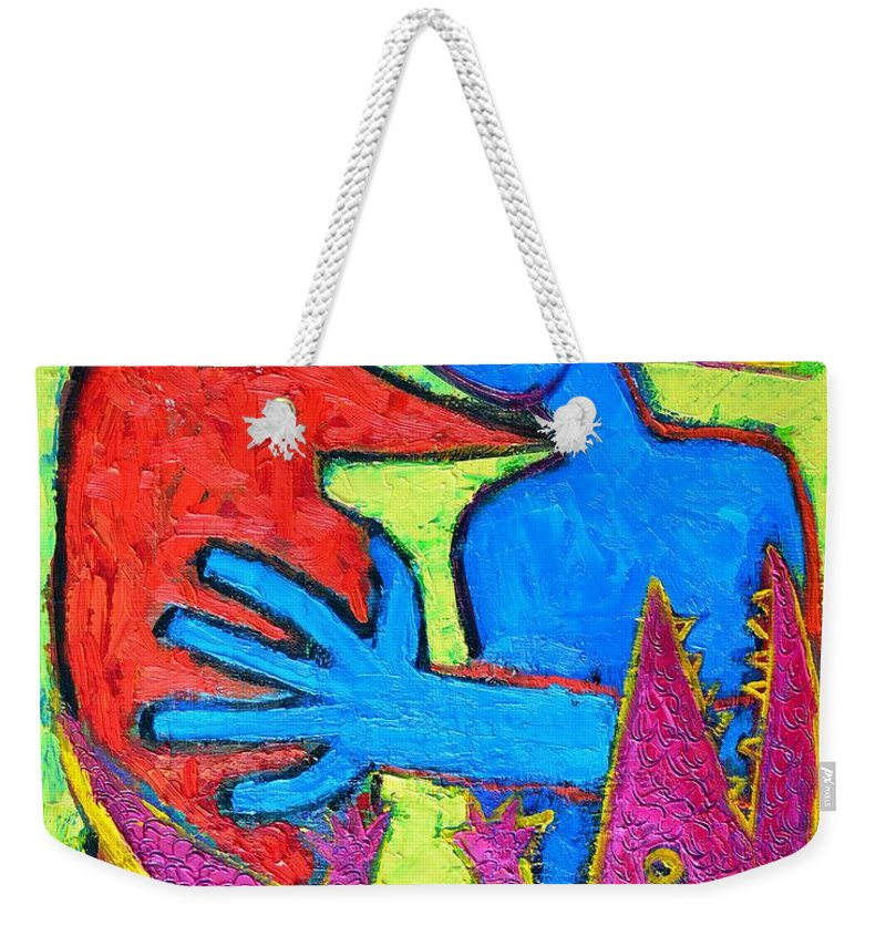 Crow Weekender Tote Bag featuring the painting I Am Blue But Still Alive Do Not Eat Me by Ana Maria Edulescu