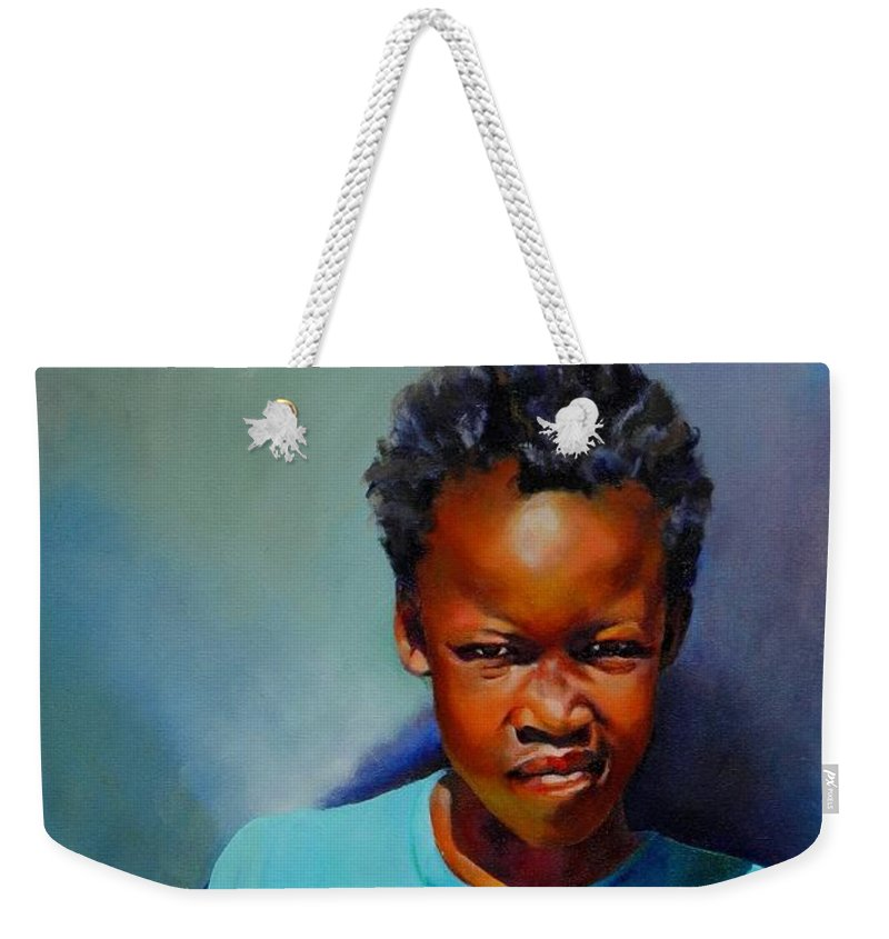 Portrait Weekender Tote Bag featuring the painting I Am Somebody by Jolante Hesse