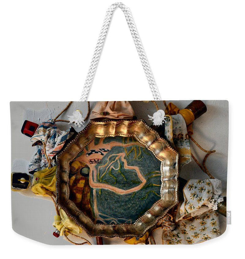 Abstract Modern Outsider Raw Woman Figure Dress Folk Surreal Lady Weekender Tote Bag featuring the painting I Consciously Detach Myself - Frame by Nancy Mauerman